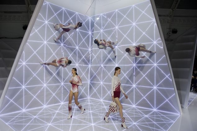 The geometric set and the geometric clothes at Anya Hindmarch (Photo: Justin Tallis/AFP/Getty Images).