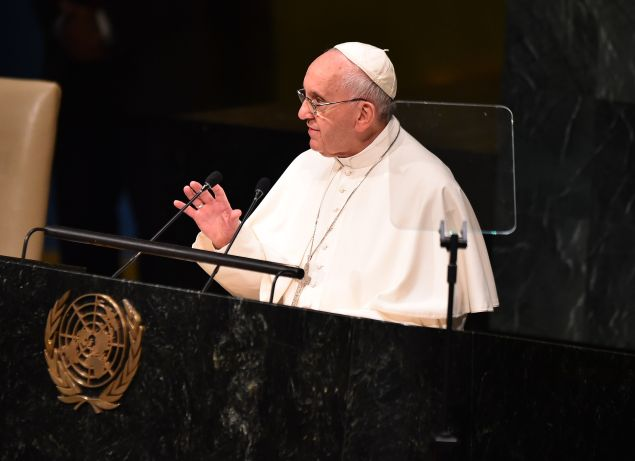 Pope Francis speaks at the UN General Assembly. (Photo: Getty)