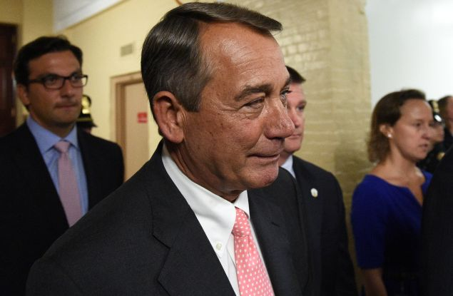 WASHINGTON, DC - SEPTEMBER 25: Speaker of the House John Boehner (R-OH) leaves after announcing his resignation on Capitol Hill, September 25, 2015 in Washington, D.C. Boehner announced his resignation from Congress at the end of October following intense pressure from conservatives in his party. (Photo by Astrid Riecken/Getty Images)