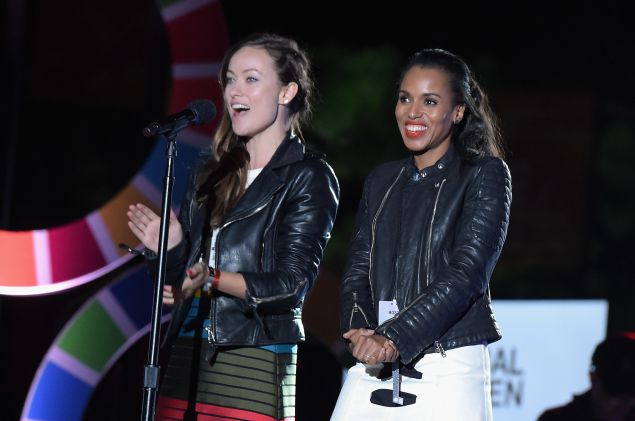Olivia Wilde and Kerry Washington don matching leather jackets for the Global Citizens Festival (Photo: Getty Images).