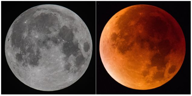 "A typical ""supermoon"" (left) versus the ""supermoon"" that occurred last night, coinciding with the eclipse and causing the ""blood moon."" (Photo: Getty)"