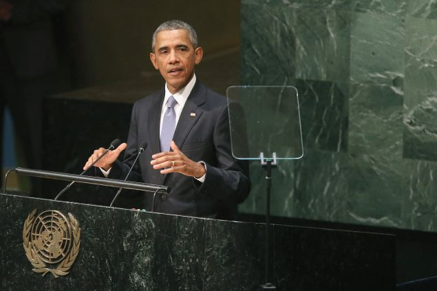 NEW YORK, NY - SEPTEMBER 28: (AFP OUT) U.S. President Barack Obama addresses the 70th annual United Nations General Assembly at the UN headquarters September 28, 2015 in New York City. Obama will hold bilateral meetings with Indian Prime Minister Narendra Modi and Russian President Vladimir Putin later in the day. (Photo by Chip Somodevilla/Getty Images)