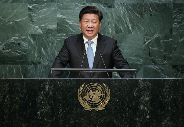 NEW YORK, NY - SEPTEMBER 28: Chinese President Xi Jinping addresses the UN General Assembly on September 28, 2015 in New York City. World leaders gathered for the 70th session of the annual meeting. (Photo by John Moore/Getty Images)
