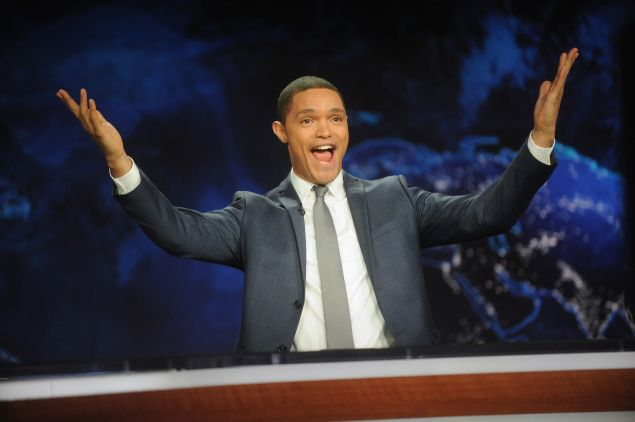 """hosts the """"The Daily Show with Trevor Noah"""" Premiere at The Daily Show with Trevor Noah Studio on September 28, 2015 in New York City."""