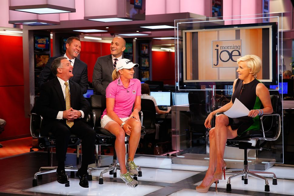 NEW YORK, NY - MAY 29: Mike Whan, Commissioner, LPGA Tour, John Veihmeyer, Chairman, KPMG, Stacy Lewis, LPGA Professional, Pete Bevacqua, CEO, PGA of America Mike McCarley, President, Golf Channel appear on MSNBC Morning Joe with Mika Brzezinski to announcement of KPMG Women's PGA Championship on May 29, 2014 at the NBC Studios in New York City. (Photo by Mike Stobe/Getty Images for KPMG)