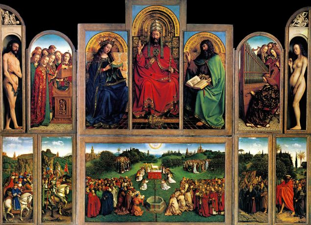 The Ghent Altarpiece, 1430. Created by Jan van Eyck, it's an early Flemish polyptych panel painting. Dated 15th century. (Photo by: Universal History Archive/UIG via Getty Images)