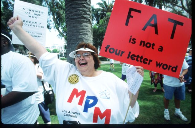 An overweight participant rallies at the Million Pound March, sponsored by the National Association to Advance Fat Acceptance (Photo by Gilles Mingasson/Liaison)
