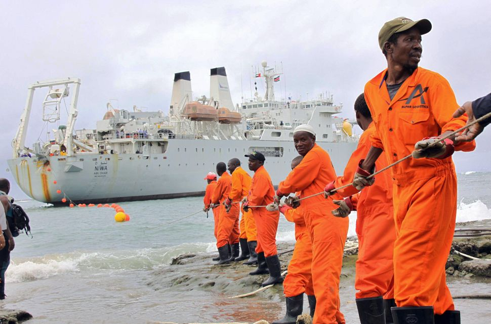 An undersea fiber optic cable brings broadband Internet to East Africa in 2009. (Photo: Stringer/AFP/Getty)