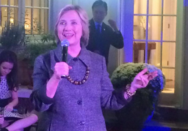 Clinton at her September 24 fundraiser in Cresskill.