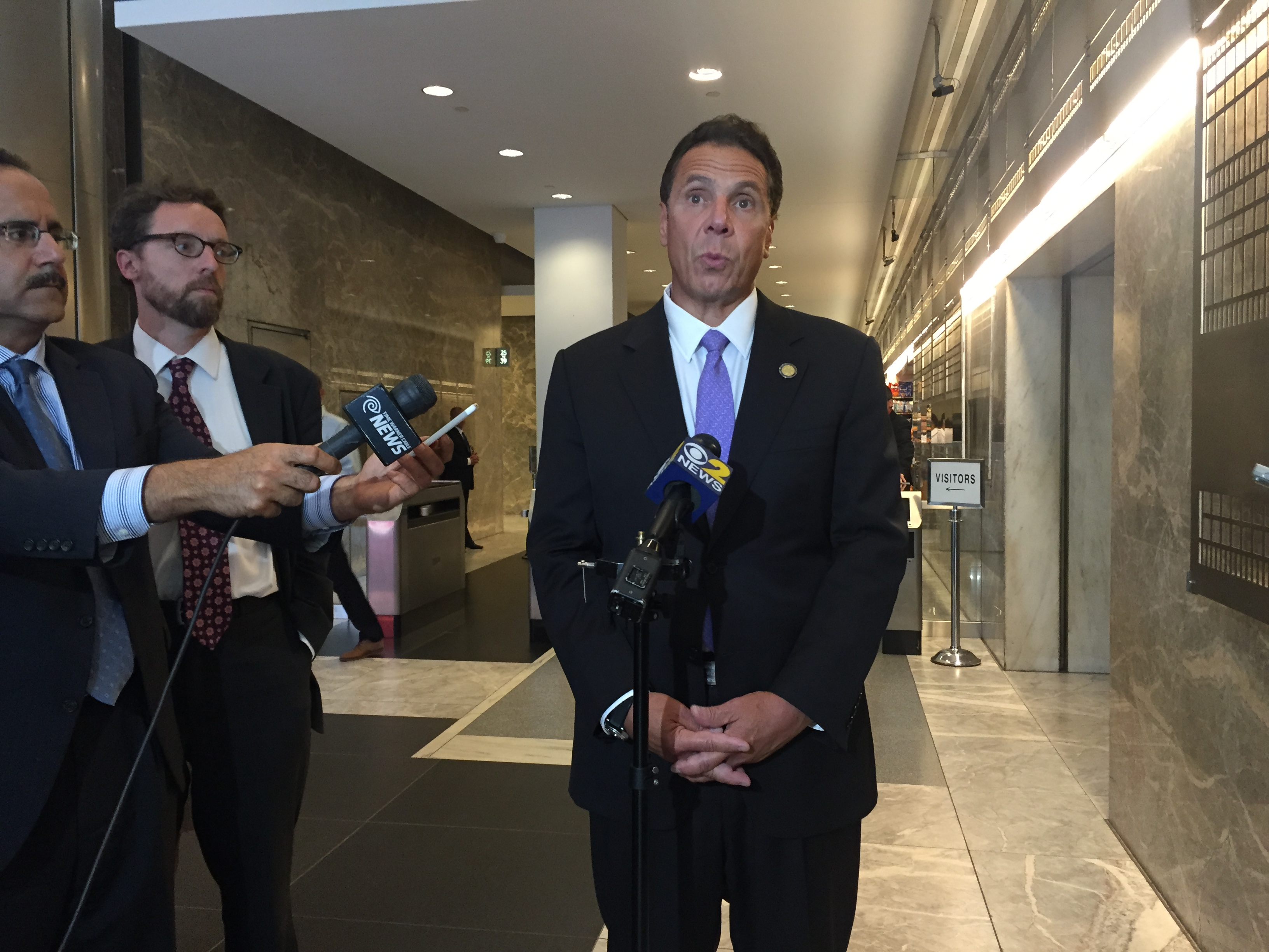 Gov. Andrew Cuomo discussing the funding plan today. (Photo: Jillian Jorgensen for Observer)