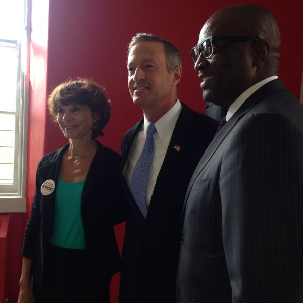 Former Maryland Gov. Martin O'Malley, center, met with East Harlemites to talk up his gun plan (Photo: Will Bredderman for Observer).