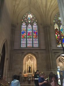 The 75 stained glass windows, which consist of 3700 individual panels, were cleaned and repaired by the design team.
