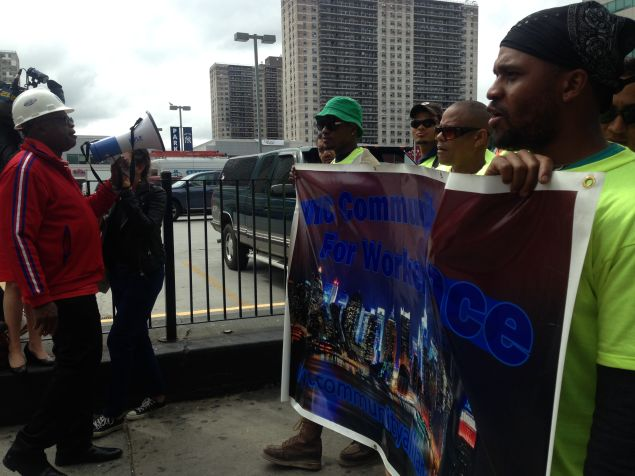 Workers protest today in the Bronx (Photo: Will Bredderman for Observer).