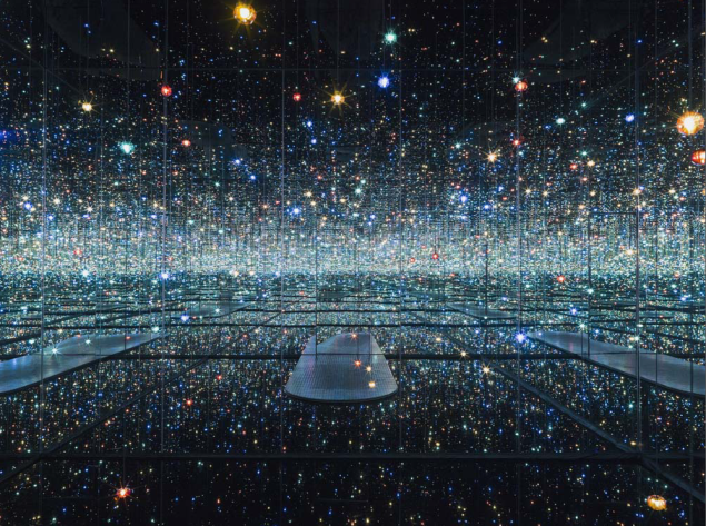 Yayoi Kusama's Infinity Mirrored Room—The Souls of Millions of Light Years Away is one of the works featured in the museum's inaugural installation. (Photo: The Broad Museum)