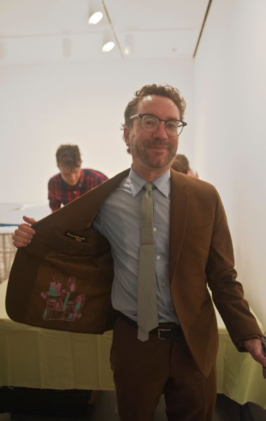 A visitor with a one-of-a-kind Teppei Kaneuji print on the lining of his blazer. (Photo: Jane Lombard Gallery)