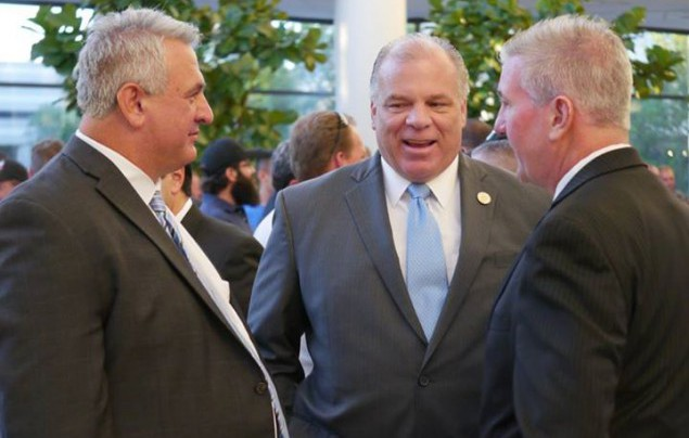 Senate President Sweeney with Local 825 Business Manager Greg Lalevee and Assemblyman David Rible.