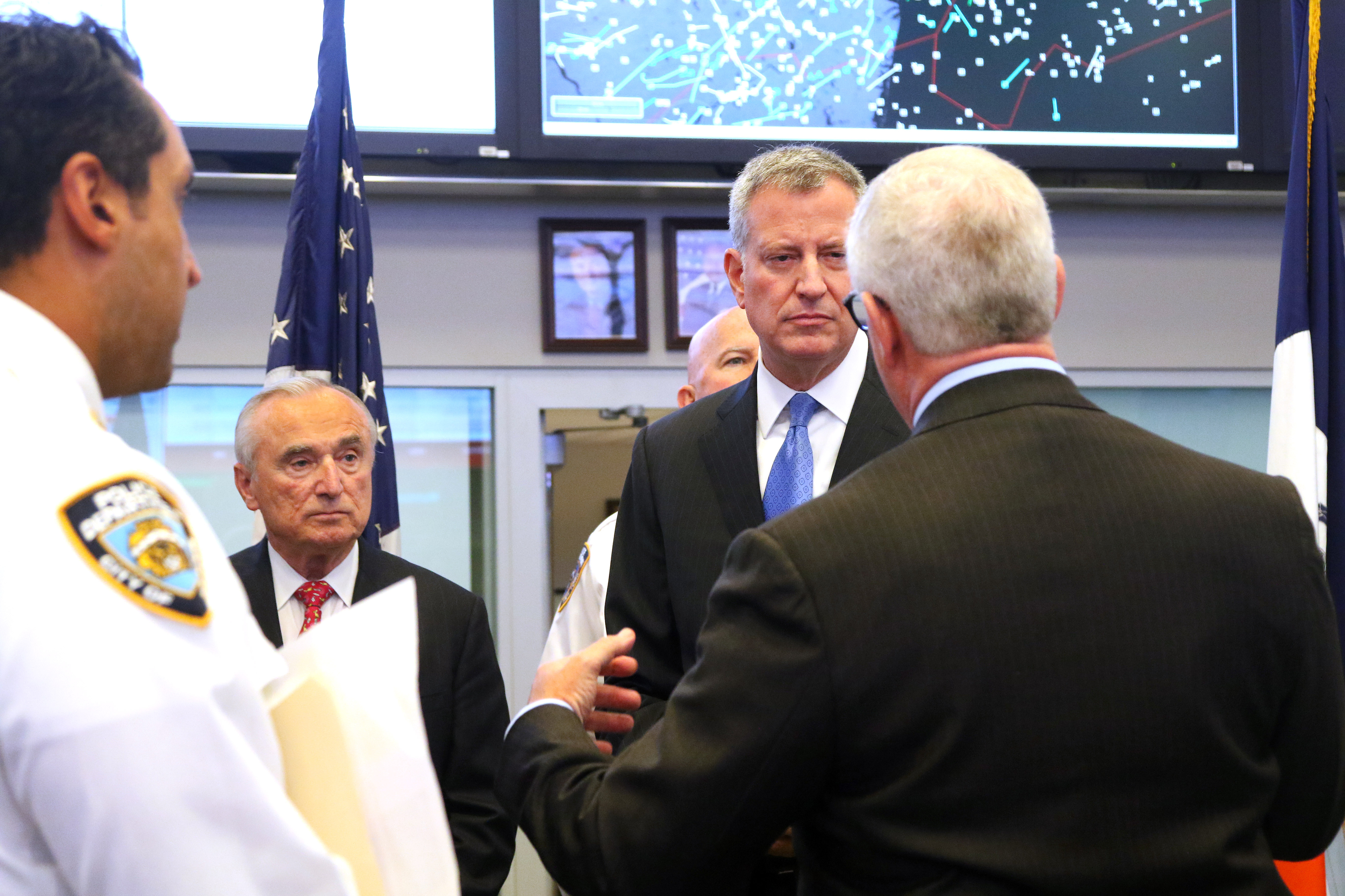 New York City Mayor Bill de Blasio and NYPD Commissioner William J. Bratton were briefed by NYPD Deputy Commissioner of Intelligence and Counter-Terrorism John Miller regarding security preparation of 'Visit of Pope Francis' during M.A.C.C. Exercise (Multi-Agency Coordination Center Exercise) at Joint Operations Center at New York City Police Headquarters. (Pool photo: Chang W. Lee/The New York Times)