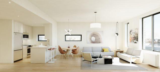 A living room at one of the 8 Vanderbilt condos.