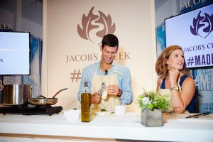 Novak Djokovic teaches a cooking class for an event for Jacob's Creek wines, Astor Center. (Photo: Yvonne Albinowski for Observer)