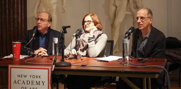 Jerry Saltz, Roberta Smith and Randy Cohen on a NYAA panel in 2014. (Photo: Courtesy New York Academy of Art)