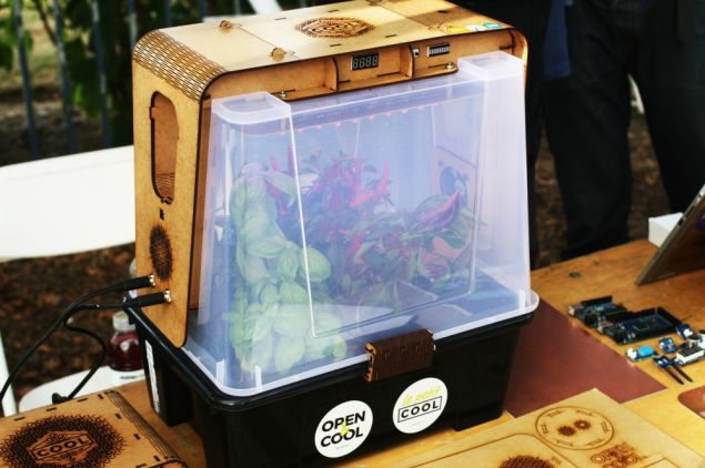 Le Petit COOL, an open source mini greenhouse from France. (Photo: Brady Dale for Observer)