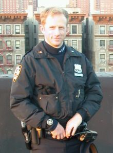 Author, and former police officer, Paul Bacon on a Harlem rooftop.