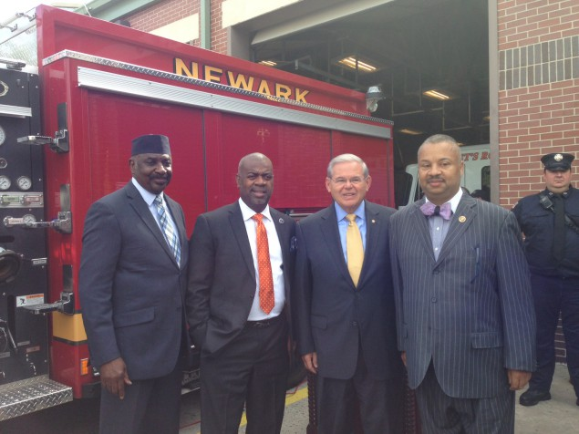 Payne (right) and Menendez have been working to ensure grants for first responders.