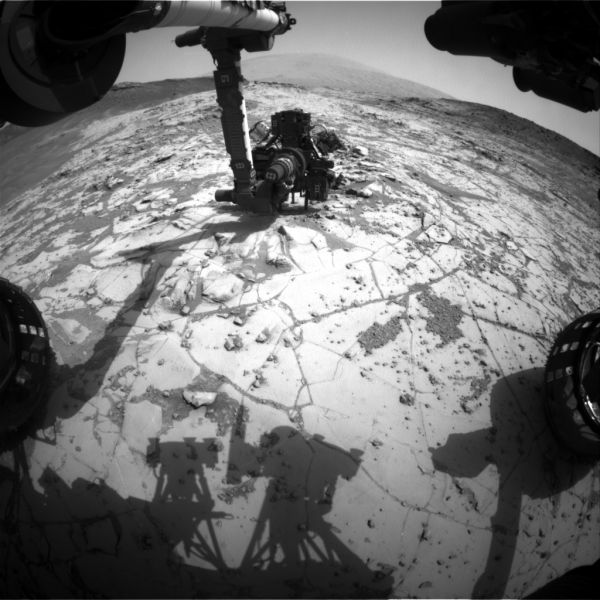 The rover's drill is shown in position for a small drill test at 'Mojave.' (Photo: NASA/Public Domain)