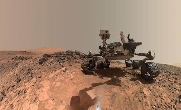 "The rover takes a selfie at the site from which it drilled into a rock called ""Buckskin."" (Photo: NASA/Public Domain)"
