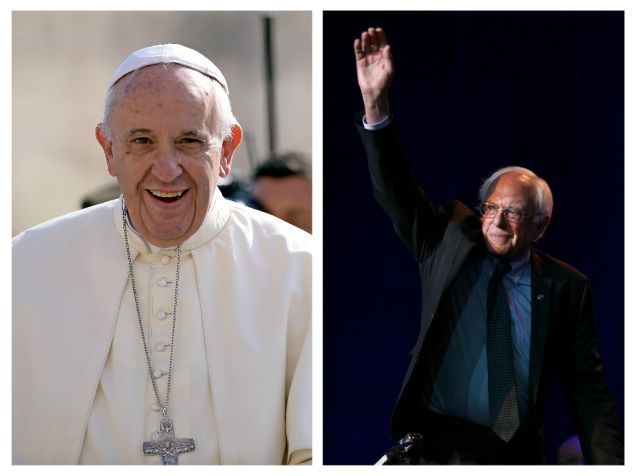 Pope Francis/ Bernie Sanders. (Photo: Getty Images)