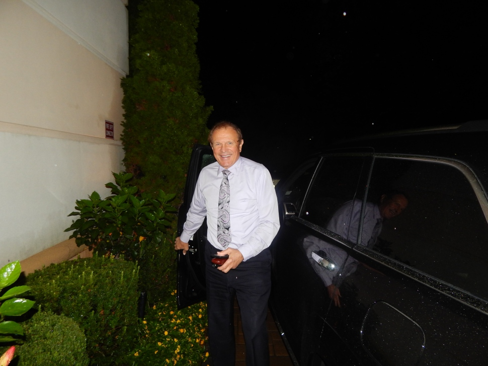 Lesniak arrives for the fiesta.
