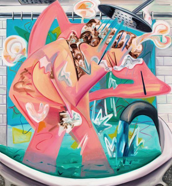 Dana Schutz, Slow Motion Shower, 2015. (Photo: Courtesy of the artist and Petzel Gallery)