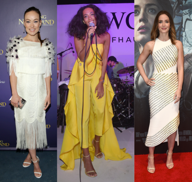 Olivia Wilde, Solange Knowles and Emily Blunt in Nudist shoes (Photos: Getty Images).