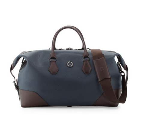 dunhill Chassis Leather Holdall Duffel Bag, Navy, $2,400, www.neimanmarcus.com. (Photo: Neiman Marcus)