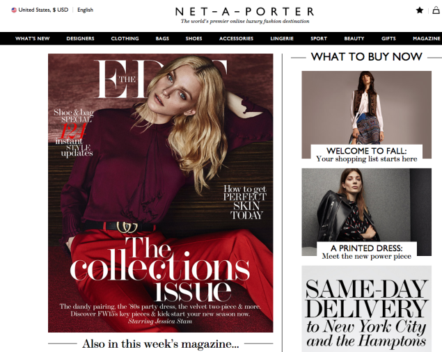 The Net-A-Porter homepage (Photo: Net-A-Porter.com).