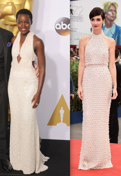 A side-by-side comparison of the dresses. (Photos: Patrick McMullan, Getty Images)