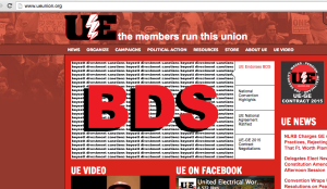 The UE web page prominently features its members' vote to endorse BDS. (Screenshot ueunion.org)