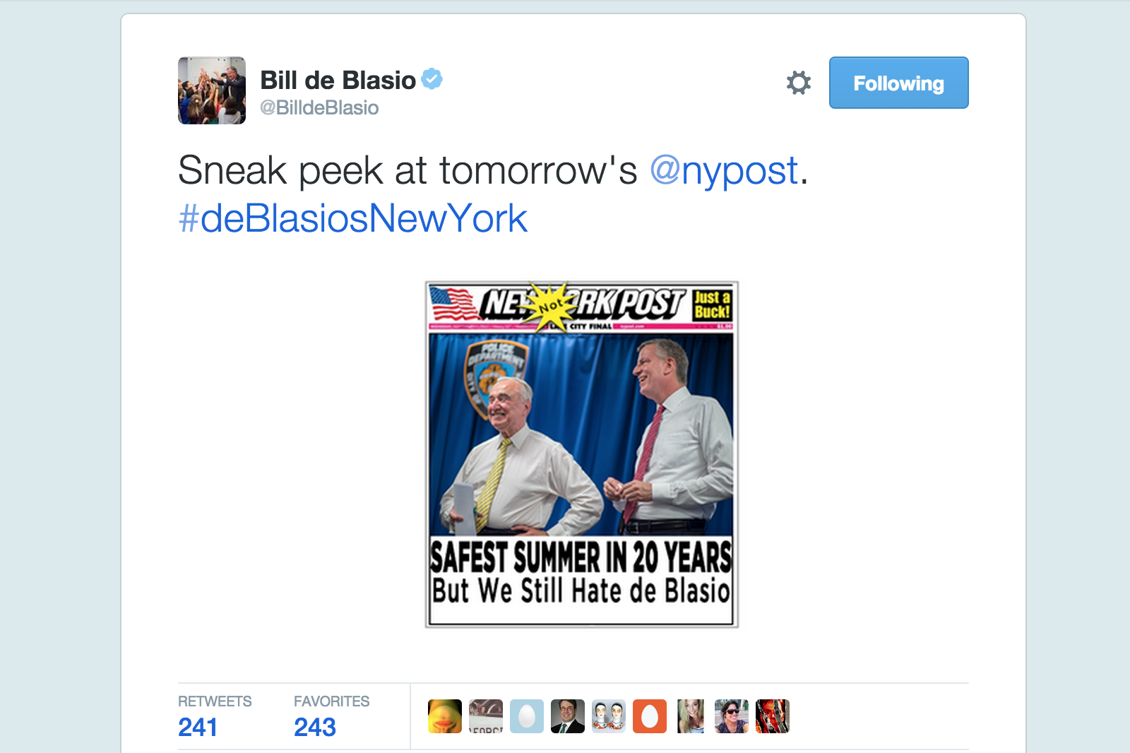 Mayor Bill de Blasio tweaked the Post on Twitter, only to invite criticism of himself from social media users. (Screenshot: Twitter)