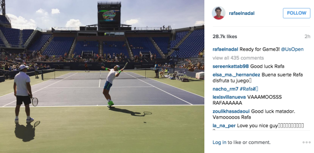 Rafael Nadal at the U.S. Open. (Photo: Instagram/Rafael Nadal)