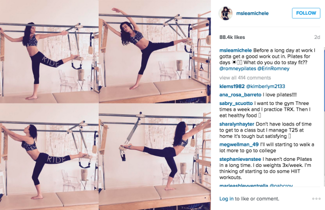 Lea Michele did Pilates. (Photo: Instagram/Lea Michele)