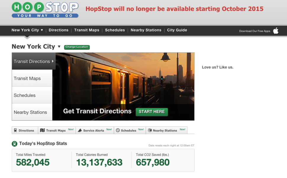 See the notice in red at the top. (Image: screenshot from HopStop.com)