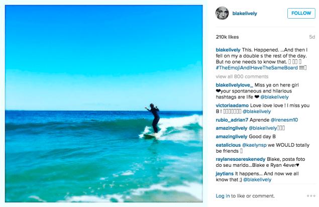 Blake Lively went surfing. (Photo: Instagram/Blake Lively)