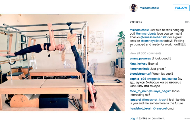 BFFs and frequent workout buddies Lea Michele and Emma Roberts did Pilates. Photo: Instagram/Lea Michele)