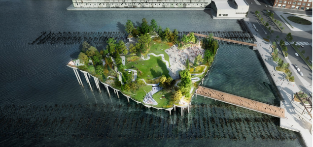 Rendering of Pier 55 by Heatherwick Studio.