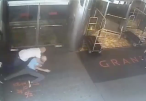 A screenshot shows the office taking James Blake to the ground. (Screengrab: NYPD video)
