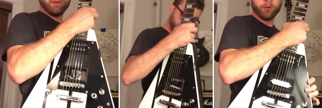 Mr. Strassell inserting a new pickup. (Screengrabs: YouTube)