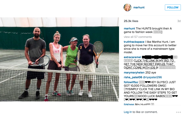 Martha Hunt and her family played tennis. (Photo: Instagram/Martha Hunt)