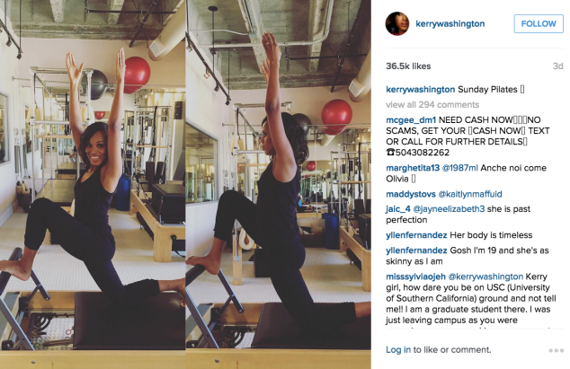 A smiley Kerry Washington did Pilates. (Photo: Instagram/Kerry Washington)
