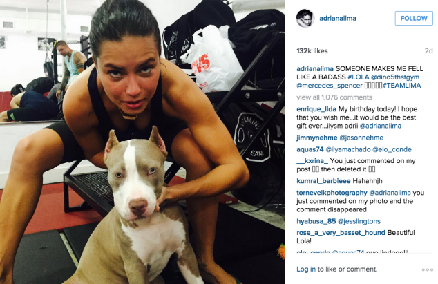 Adriana Lima hit the gym with an adorable pup. (Photo: Instagram/Adriana Lima)