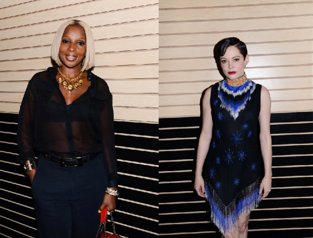 The beautiful and talented Mary J. Blige (left) and Rose McGowan at the Freeman/Lowe exhibition at Red Bull Studios. (Photo: Courtesy of BFA)